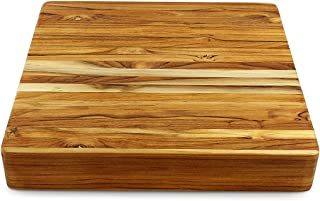 Terra Teak Grand Chopping Block 18 x 18 Inch, 3 Inch Thick Extra Large Cutting Board and Butcher Block