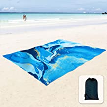 Sunlit Silky Soft Sand Proof Beach Blanket Sand Proof Mat with Corner Pockets and Mesh Bag 6x7 / 7x9 for Beach Party, Travel, Camping and Outdoor Music Festival