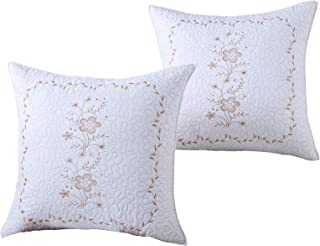 MarCielo 2 Pack Throw Pillow Covers Euro Sham Covers Pillow Shams Pillow Cover Embroidery (European, White/Gold)
