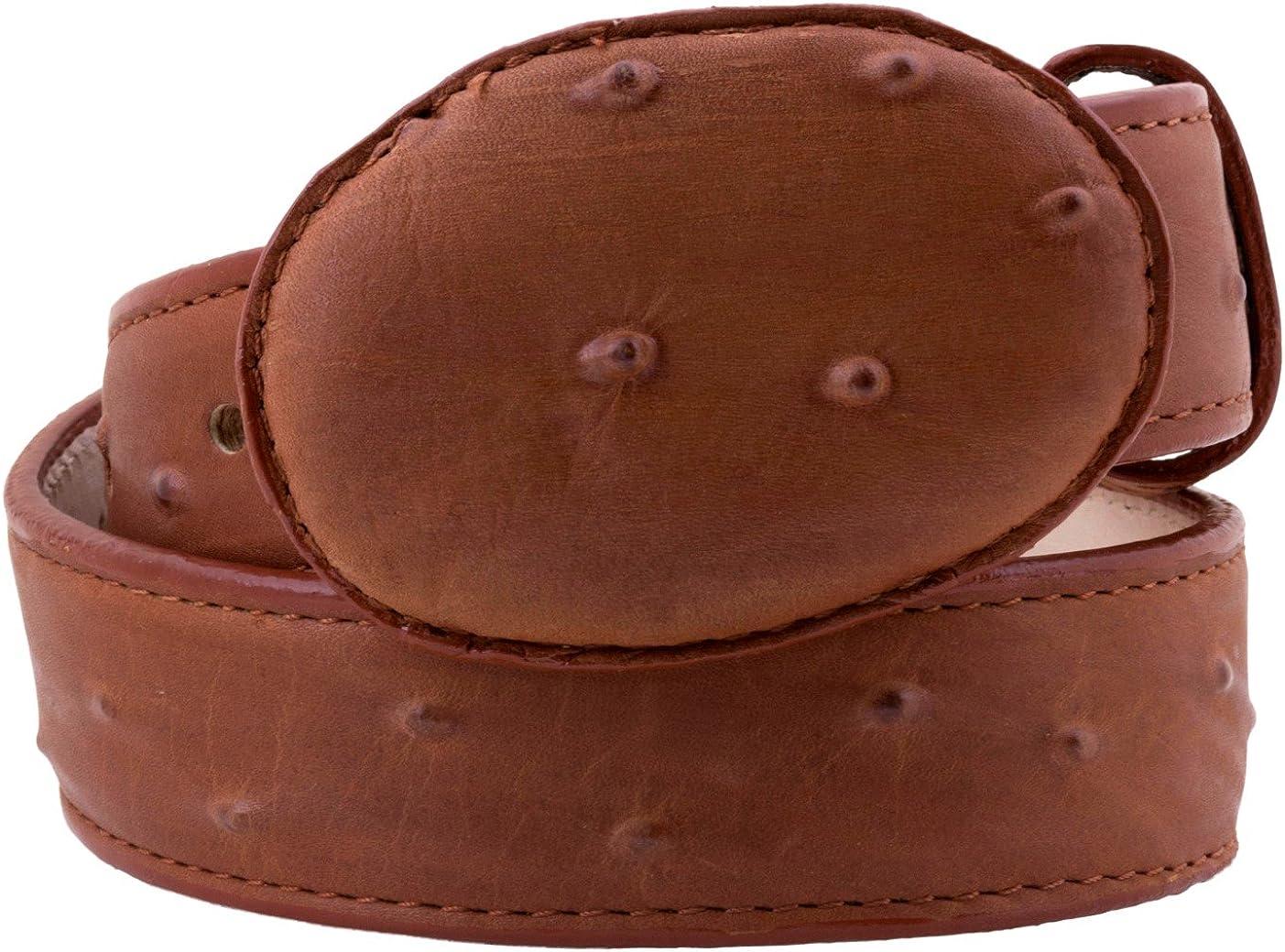 Kids Cowboy Western Belt Cognac Ostrich Pattern Leather Round Buckle 20