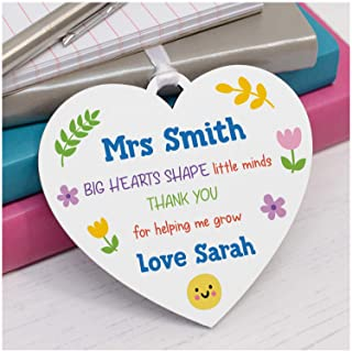 PERSONALISED Teacher Thank You Gifts - Teacher, Teaching Assistant, TA, Key Worker Presents - Teacher Appreciation Gifts - Big Hearts Shape Little Minds Wooden Heart Plaque Gifts for Teacher