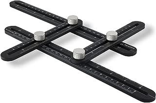 Perfect Angle Multi Function Universal Angular Ruler | Full Alloy Metal Construction Multi Angle Measuring Template Tool - Professional & DIY (Black)