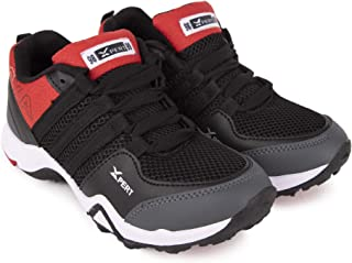 Xpert Kids Sports Shoes, Lace Up Boys Multisports Training & Running Shoes, Avalable Colors Black/Red, Grey/Blue, Navy/Grey