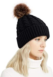 Winter Rib-Knit Beanie Chunky Baggy Hat for Women Snow Cable Knit Skull Ski Cap with Faux Fur Pompom