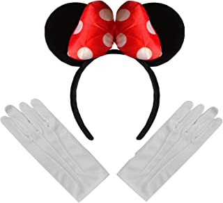 Large Padded Minnie Mouse Ears Bow Fancy Dress Head Band Red White Polka dot Black + White Magician Cotton Gloves