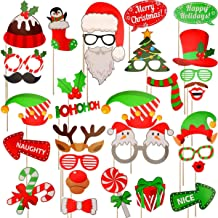 2019 Christmas Photo Booth Props 32Pcs(Upgraded Version), Merry Christmas Party Pose Sign, Red and Green Christmas Party Supplies Decorations for Kids Adults