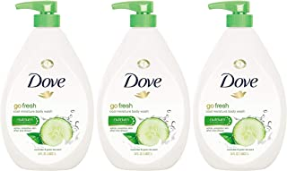 Dove Go Fresh Cool Moisture Body Wash, Cucumber and Green Tea, 34 Ounce Pump Bottle (Pack of 3)