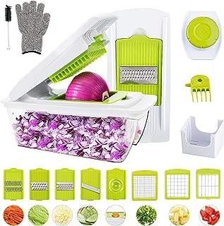 Vegetable Chopper, WOKOKO Food Chopper Cutter Onion Slicer Dicer Veggie Slicer Manual Mandoline for Garlic, Carrot, Potato, Tomato, Fruit, Salad(Can't be Used in The Dishwasher)