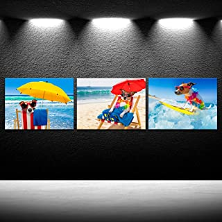 iKNOW FOTO Canvas Prints Funny Jack Russell Dog with Sunglasses Surfing on a Wave Wall Art Ocean Sea on Summer Vacation Holidays Picture Printed On Canvas Giclee Artwork for Home Decor