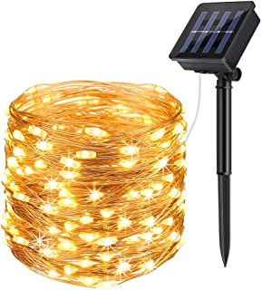 heepop Solar Powered String Lights, 200 LED Copper Wire Fairy Lights 72ft Waterproof Solar Decoration Lights Indoor Outdoor Garden Dancing, Party (Warm White)