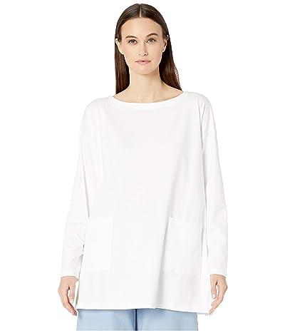 Eileen Fisher Organic Cotton Stretch Jersey Bateau Neck Tunic (White) Women