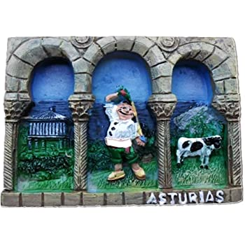 Asturias España Europa Ciudad Mundial Resina 3D Fuerte Imán de nevera recuerdo turístico Regalo chino Imán hecho a mano Artesanía Creativa Casa y Cocina Decoración Magnética Pegatina: Amazon.es: Hogar