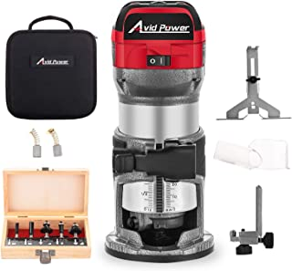 Avid Power 6.5-Amp 1.25 HP Compact Router with Fixed Base, 5 Trim Router Bits, Variable Speed, Edge Guide, Roller Guide and Dust Hood, Avid Power MW104