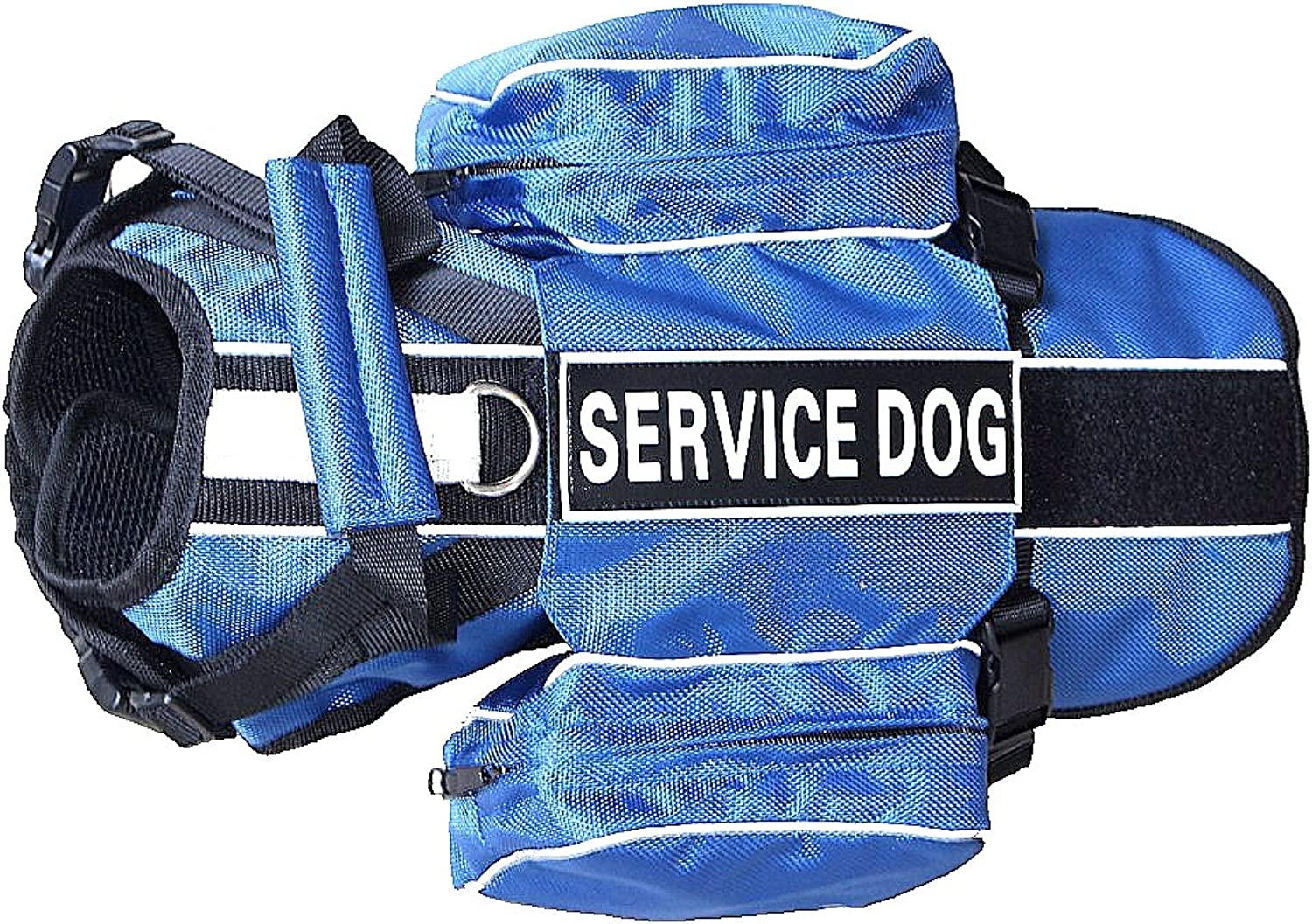 Haoyueer Service Dog Backpack Harness Vest Removable Saddle Bags with Label Patches(bluee,S)