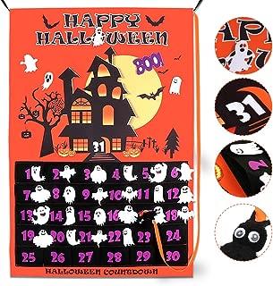 OurWarm Halloween Calendar 2019 Linen Halloween Countdown Calendar for Kids 31 Days, Home Decor Advent Calendar with Bat, Ghosts Boo!