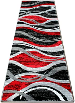 Masada Rugs, Stephanie Collection Area Rug Modern Contemporary Design 1109 Red Grey White Black (2 Feet X 7 Feet 3 Inch) Runner