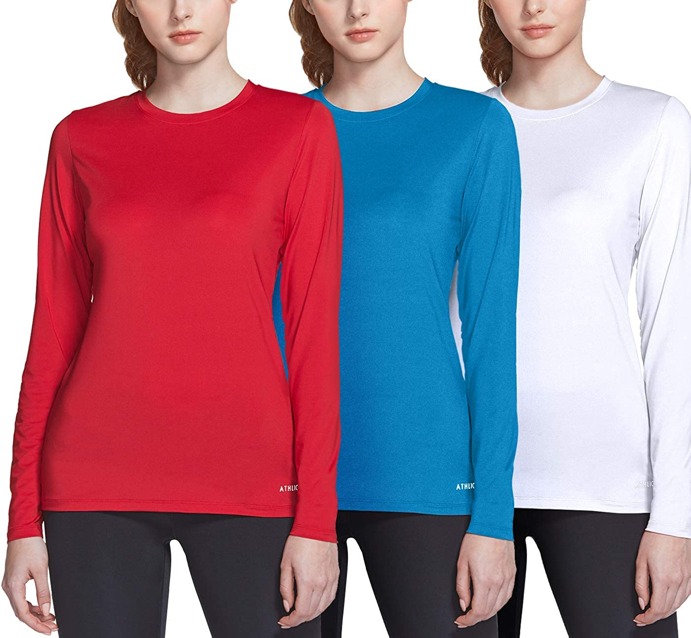 ATHLIO 2 or 3 Pack Women's UPF 50+ Long Sleeve Workout Shirts, UV Sun Protection Running Shirt, Dry Fit Athletic Tops: Clothing