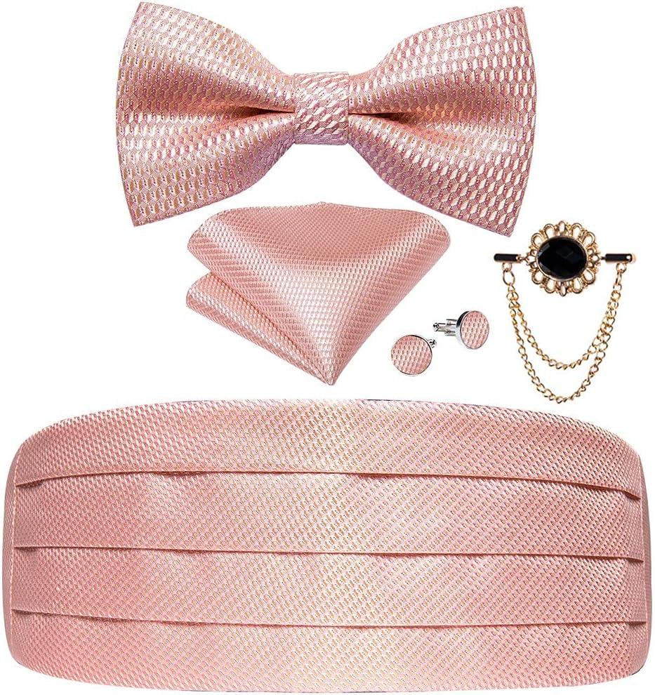 NJBYX Pink Solid Men Cummerbund Bow Tie Pocket Square Cufflinks Set Men Tuxedo Suit Accessories Elastic Belts For Men (Color : B, Size : One size)
