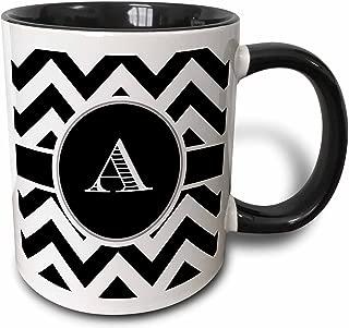 3dRose 222063_4 White Chevron Monogram Initial A Two Tone Black Mug, 11 oz