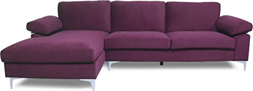 lowest Modern Velvet Fabric Sectional Sofa, L-Shape Couch with Extra Wide Chaise new arrival Lounge Left Hand Facing discount (Purple) outlet sale