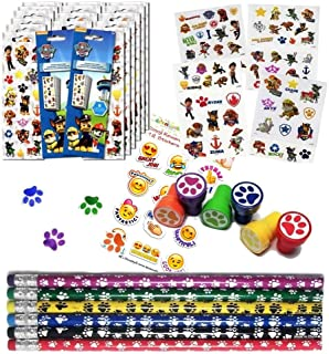 Multiple Paw Patrol Birthday Party Favor Set 12 (12 Paw Print Stampers, 12 Paw Print Pencils, 16 Paw Patrol Stickers Sheets, 75 Paw Patrol Tattoos + A Bonus of a Pack of 12 Emoji Stickers)