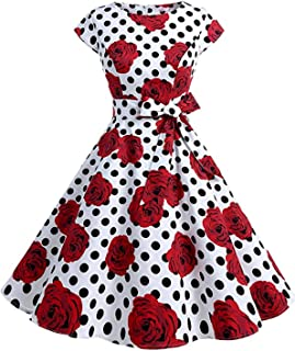 Women Vintage Cocktail Dress Cap-Sleeves Boatneck A-Line Casual Floral Retro Cocktail Swing Party Dress