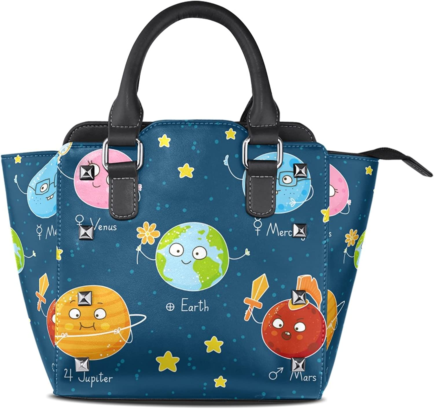 My Little Nest Women's Top Handle Satchel Handbag Cute Space Solar System Planets Ladies PU Leather Shoulder Bag Crossbody Bag