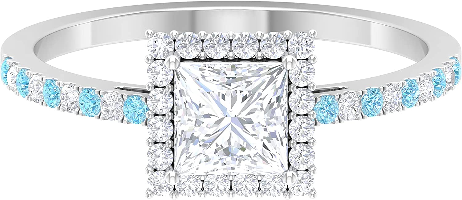 April Birthstone - 1 CT Princess Promise Ring Diamond A with Cut Cheap SALE Start Same day shipping