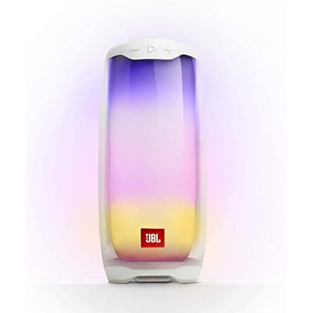 JBL Pulse 4 Waterproof Portable Bluetooth Speaker with Light Show - White (Renewed)