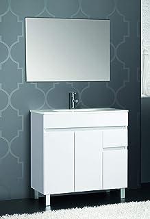 VAROBATH Conjunto de Mueble de baño de 3 Puertas y 1 cajón amortiguado, con Lavabo de Cerámica, y Espejo Liso - Mueble MONTADO - Modelo Clif (80 cms, Blanco)
