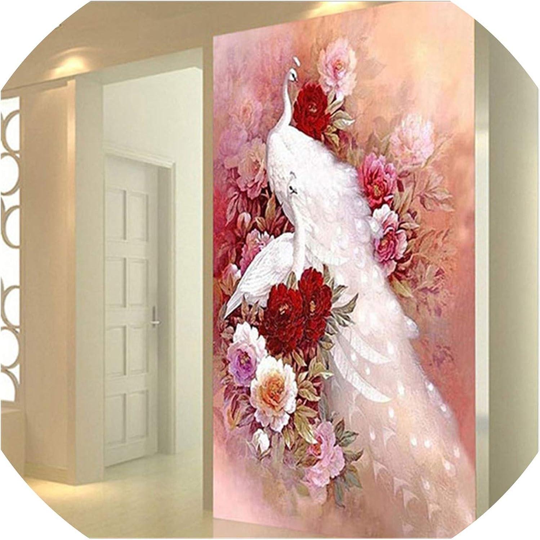 Descuento del 70% barato DIY DIY DIY 5D Diamante Bordado Animal blancoo Pavo Real 3D Diamante Pintura Flor Punto de Cruz Paquete completo Rhinestone Mosaico Craft Regalo  diseño simple y generoso