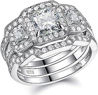 Wuziwen خواتم زفاف ثلاثة أحجار للنساء فضة استرليني الأميرة AAA مكعب زركونيا مكعب