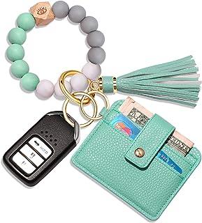 Wristlet Bracelet Keychain Wallet, Silicone Bead House Car Key Ring Pocket Credit Card Holder