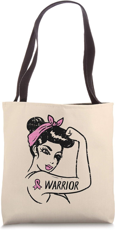 Breast Cancer Warrior Rosie Riveter Pink Ribbon Unbreakable Tote Bag