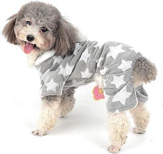 Ranphy Ranphy Hunde-Pyjama, Fleece-Overall für den Winter, für Mädchen, mit Kapuze, Chihuahua-Kleidung, Welpen-Schlafanzug, Weihnachts-Kostüm, Yorkie-Kleidung für kleine Hunde, Katzen, Grau, XL