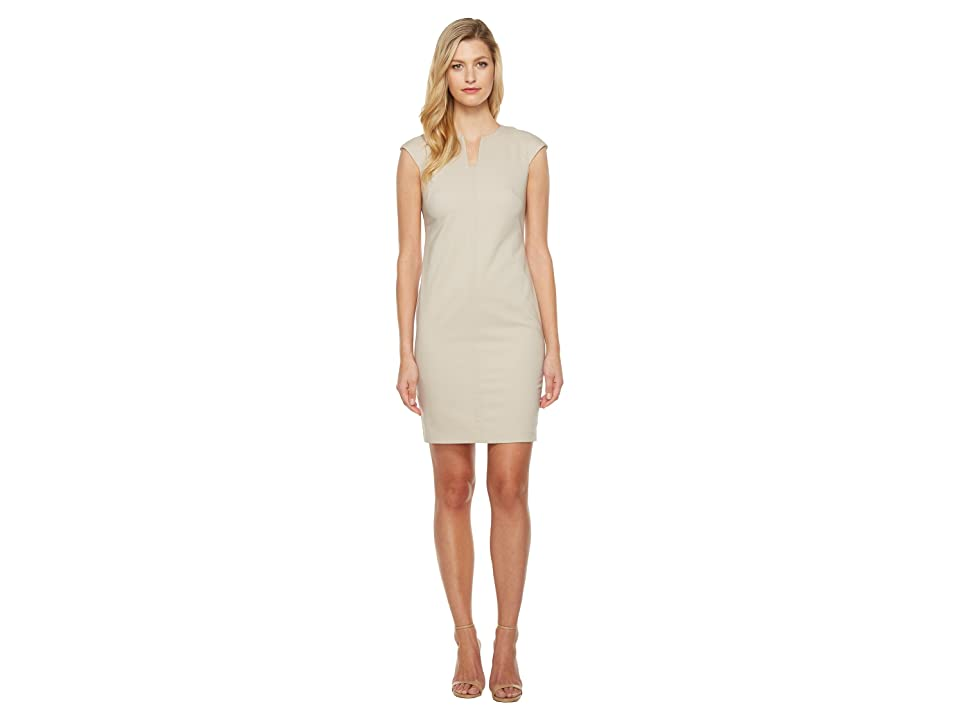 Calvin Klein Cap Sleeve Sheath Dress (Khaki) Women