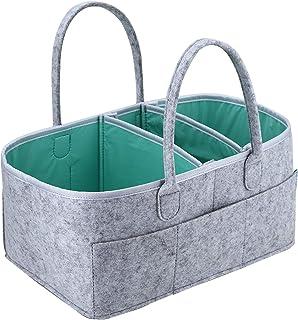 Organizador de pañales para bebé, cesta de almacenamiento portátil, bolsa esencial para guardería, cambiador de mesa y coche, ideal para guardar pañales, botellas, toallitas húmedas, juguetes y chupetes de bebé