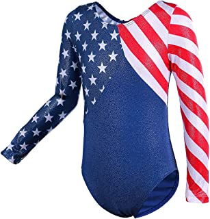 TFJH Little Girls' One-Piece Sparkle Dancing Athletic Gymnastics Clothes 5-6Years(Tag No.6A) Us Flag