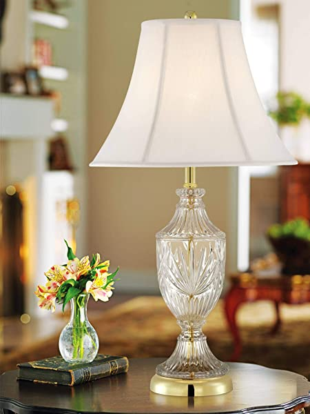 Traditional Table Lamp Cut Glass Urn Brass White Cream Bell Shade For Living Room Family Bedroom Bedside Nightstand Regency Hill