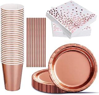 iZoeL Zestaw naczyń na imprezę, 120 sztuk, w kolorze różowego złota, papierowe talerze, kubki, papierowe słomki, po 30 szt...