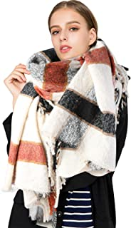 Lachi - Bufanda de gran tamaño para mujer, estilo tartán, 200 x 80 cm