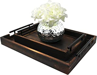 """Serving Tray Set of 2 by East World (Large 17""""x13"""" and Medium 13""""x9"""", Torched Light Black)"""