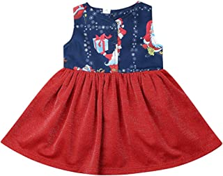 Sister Brother Matching Christmas Outfits Cartoon Christmas Sets Retro T-Shirt Tops Dress Outfits