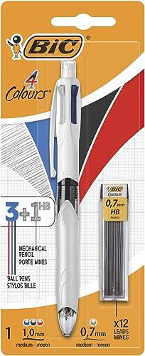 BIC 4 Colori Penne a Sfera a Scatto, Cancelleria Scuola e Ufficio, 3 Colori + 1 Matita Meccanica, Confezione da 1 Pen...