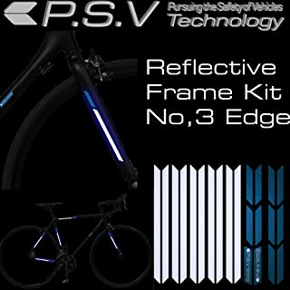 P.S.V Technology Reflective Frame kit Reflector kit for Bicycle Frame Reflect Improve Visibility at Night and Bad Weather (Blue, Edge)