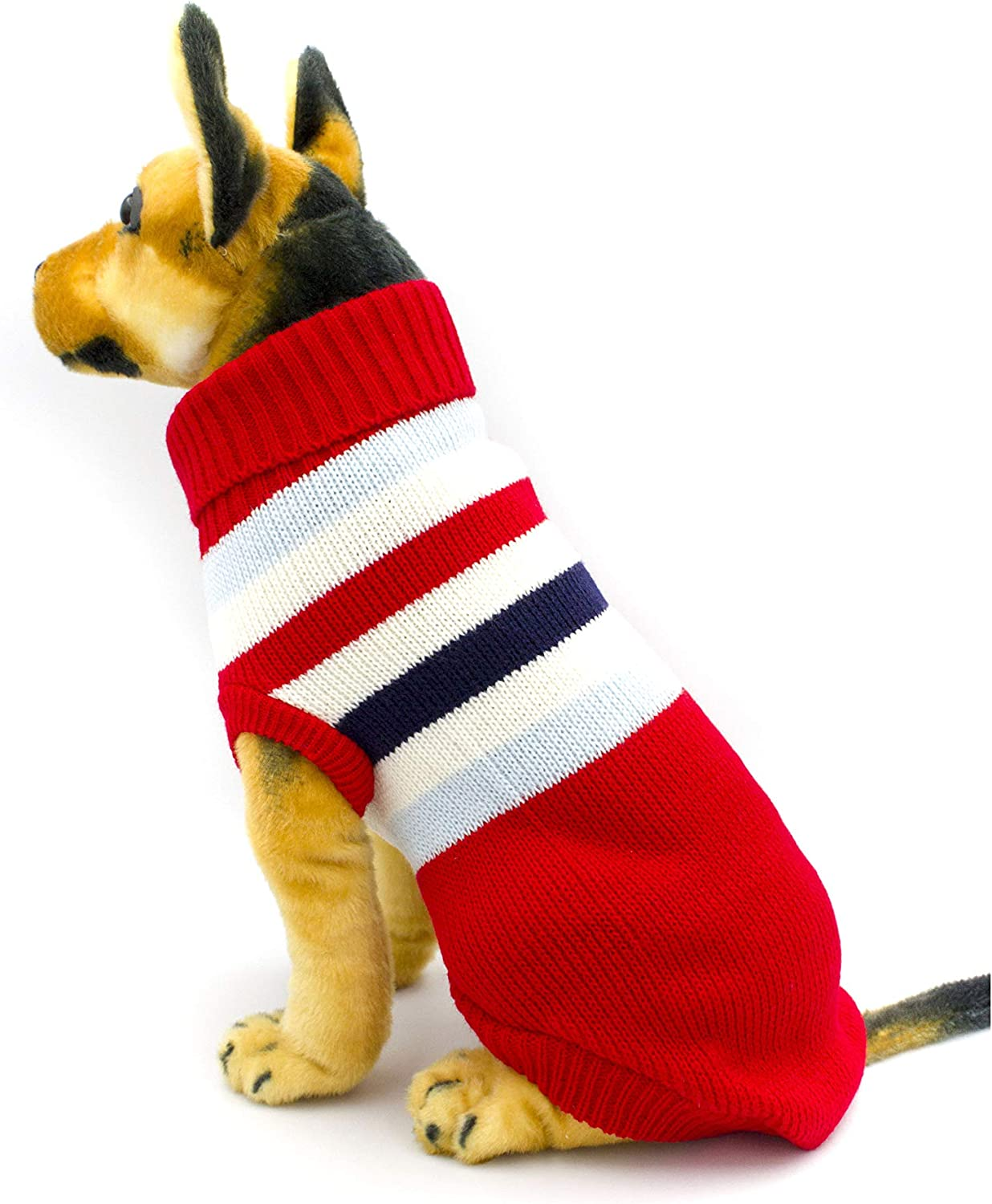 AXEL PETS Elegant Stripes Knit Turtleneck Winter Warm Sweater for Dog and Puppy (Small, Red)