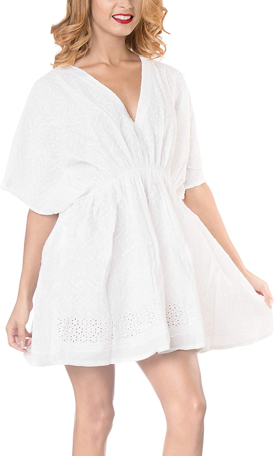 LA LEELA Women's Plus Size Summer Casual Dresses Swimsuit Cover Ups Embroidered