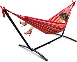 Joopee Two-Person Hammock Stripe with Space Saving Steel Stand Includes Portable Carrying Case