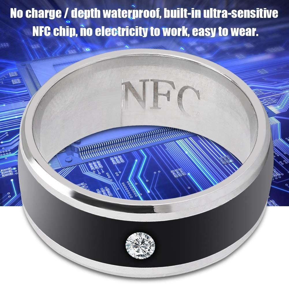 ASHATA Universal Smart NFC Rings for Mobile Phone, Smart Ring Multifunctional Magic Wearable Device, Smart NFC Waterproof Ring Magic Wearable Device Universal for Mobile Phone(Size 1)