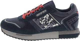 NAPAPIJRI Sneakers Casual Uomo Modello Virtus in camoscio e Tessuto Blu con Lacci Rossi e Logo Laterale Bianco. Fondo in G...